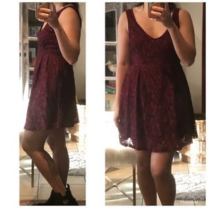 NWT Forever 21 Burg Lace V Cut Floral Lace Dress